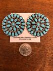 Native American Navajo Cluster Post Turquoise Huge Earrings 2 Stunning Wow F
