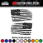 Distressed Tattered American Flag Vinyl Decal Sticker  Ripped Torn USA SET of 2