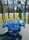 Fenton Art Glass Beaded Ovals Basket Romance Collection Iridized Blue Carnival