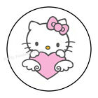 48 HELLO KITTY PINK HEART ENVELOPE SEALS LABELS STICKERS 12 ROUND