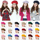 Casual Womens Girls Solid Color Beret French Beanie Cap Artist Hat One Size