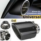 25 63mm IN 114x95mm OUT Gloss Carbon Fiber Car Auto Exhaust Pipe Muffler End