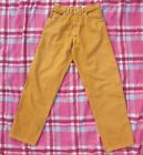 Vintage 90s Hip Hop Dogs Body Jeans Mustard Baggy Size 10 14 1990s high waisted