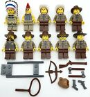 LEGO 10 NEW COWBOY AND NATIVE AMERICAN INDIAN MINIFIGURES WESTERN MEN WEAPONS