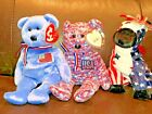 Lot of 3 TY Beanie Babies - AMERICA / USA / LEFTY