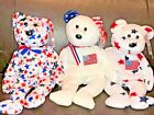 Lot of 3 TY Beanie Babies- AMERICA / GLORY / RED WHITE & BLUE