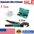 5 Ton Hydraulic Wire Battery Cable Lug Terminal Crimper Crimping Tool w Dies