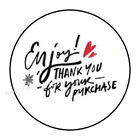 30 ENJOY THANK YOU FOR YOUR PURCHASE ENVELOPE SEALS LABELS STICKERS 15 ROUND
