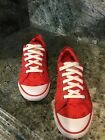 Coach Barrett Women Red Fabric Fashion Sneaker Flat Shoe Size 7B