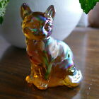 Fenton Art Glass Autumn Gold Carnival Cat OOAK 2005 Christine Fenton 557