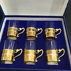 VTG MCM Gold-Trimmed Demitasse Glass Cups - Gift Boxed Set of 6 - Made in Italy