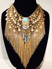 N1J Native Style Gold  Turquoise Womans Costume Jewelry Necklace