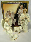 Vtg Jade Porcelain Nativity Figurines Set of 4 Gold Accents Shepherd Angel Sheep
