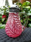 Antique Cranberry Glass Fern Syrup Pitcher