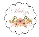PINK FLOWER BOUQUET GLOSSY SCALLOP BORDER THANK YOU LABELS