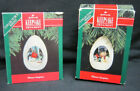 Hallmark 1991 and 1992 Winter Surprise Ornaments Penguins Singing Snow Penguin