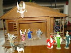 Vintage Christmas Nativity Creche Set 12 Plastic Figures + Lighted Manger