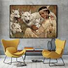 Native Indian Girl with Wolf Oil Painting on Canvas Art Posters and Prints