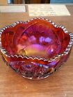 RARE 1970s INDIANA GLASS HEIRLOOM SUNSET RUBY RED CRANBERRY IRIDESCENT CARNIVAL