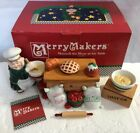 Dept 56 Merry Makers Monk Maxwell the Mixer at His Table Baking Set of 8 #93726