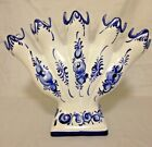 Blue And White Chinoiserie Portugal Pottery 5 Finger Floral Bud Vase