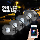 4 xRock Lights LED RGB Pods Bluetooth Music For Offroad ATV UTV Can Am Underbody