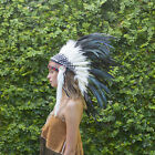 Indian Headdress Chief Real Feathers Bonnet Native American Fancy Dress Party