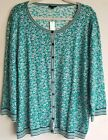 Talbots Green Floral Striped Wh Button Down Cardigan Sweater sz 3X New