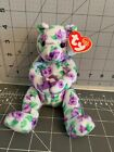 Ty 2003 Corsage Beanie Baby Bear Purple Flowers Bday April 12 2003