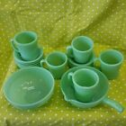 Fire King 16 piece Jadite Jade-ite green glass pouring bowl and cups set (VVR)