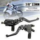 2x 7/8'' 22MM Motorcycle Universal Brake & Clutch Master Cylinder Lever L + R
