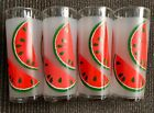 Vintage Libbey Tumbler Frosted Watermelon Tom Collins Glass Tumblers set of 4