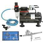 03 Master DUAL AIRBRUSH SET AIR COMPRESSOR ACTION KIT Paint Hobby Cake Tattoo