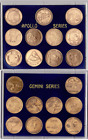 NASA APOLLO  GEMINI MANNED SPACE FLIGHT SERIES SEALED ANTIQUE BRONZE COIN SETS