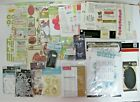Huge Lot of 49 Scrapbooking Supplies Stickers Rub Ons Brads Embellishments