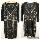 Sue Wong Black Lace Cocktail Party Dress Size 8 Embroidered Beaded