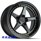 Aodhan DS05 Wheels Black 18 Staggered Rims 5x1143 Fit 98 Nissan 240sx SE S14