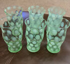Fenton Green Opalescent Coin Dot Water 6 Tumblers Glasses
