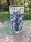 Vtg Jeanette Glass Wedgewood Blue White Hellenic Jasper Greek Highball Tumbler