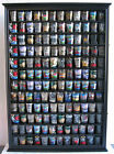 144 Shot Glass Display Case Wall Rack Cabinet Shadow Box LOCKABLE SC16L BLA