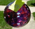 Vintage 1988 Kitras Art Glass 6 Calico Purple Magenta Ornament Sun Catcher Ball