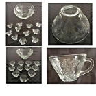 Vintage Anchor Hocking Clear Glass Embossed Punch Bowl Set Grapes and Vines 12PC