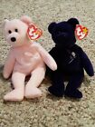 2 Ty Beanie Babies Pink Cure and Purple Princess