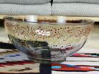 Huge Gay Interest Rainbow Swirl Glass Salad Fruit Floating Candle Bowl 8 Quart