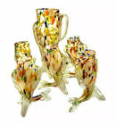 Vintage MURANO Glass Carafe and 5 glasses Set Fish pattern