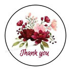 30 PINK BURGUNDY FLOWERS THANK YOU ENVELOPE SEALS LABELS STICKERS FAVORS 15