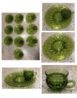 Vintage Green Indiana Glass Kings Crown Thumbprint 10 Serving Sets 20 Pieces