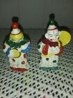 VINTAGEHAND PAINTEDCLOWNS PLAYING INSTRUMENTSSALT  PEPPER SHAKERS