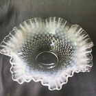 Fenton moonstone opalescent hobnail bowl ruffled edge 10 large centerpiece