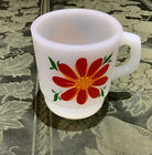 🌟 Anchor Hocking Fire-king Oven-proof White Mug With  Flowers Red Painted On It